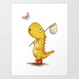 The Bug Catcher - Dinosaur Illustration Art Print