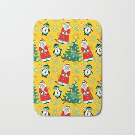 Santa and Penguin in Sunny Yellow Bath Mat