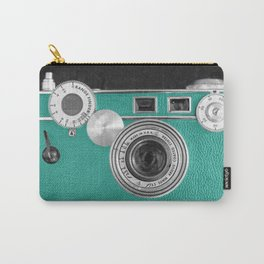 Teal retro vintage phone Carry-All Pouch