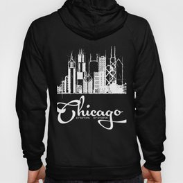 Chicago skyline sketch with GPS coordinates Hoody
