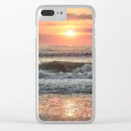 Painted Waves Clear iPhone Case