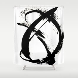 Brushstroke 7: a minimal, abstract, black and white piece Shower Curtain