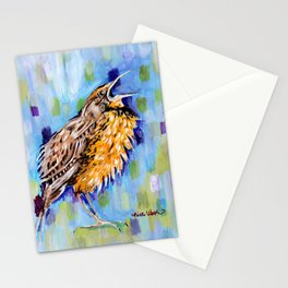 Meadowlark bird abstract blue green Stationery Cards
