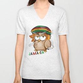 jamaican owl cartoon  Unisex V-Neck