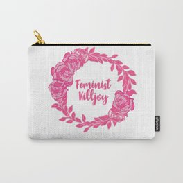 Feminist Killjoy with Beautiful Pink Florals Carry-All Pouch