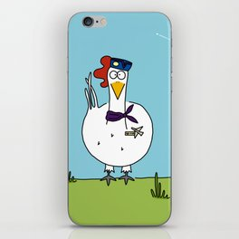 Eglantine la poule (the hen) dressed up as an air hostess iPhone Skin