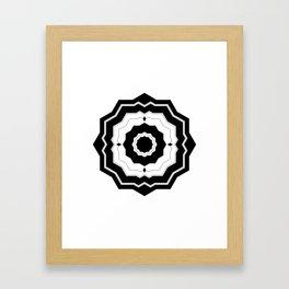 Modern Geometric Black and White Floral Framed Art Print