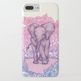 Cute Baby Elephant in pink, purple & blue iPhone Case