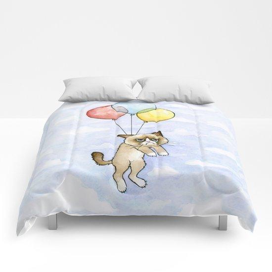 Cat With Balloons Grumpy Birthday Meme Comforters