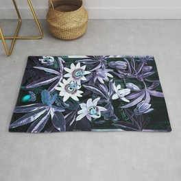 Lavender Turquoise Blue Passion Flowers Temple of Flora Rug