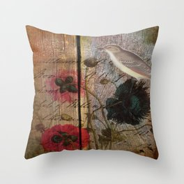 wood grain vintage bird french scripts poppy flower botanical art Throw Pillow