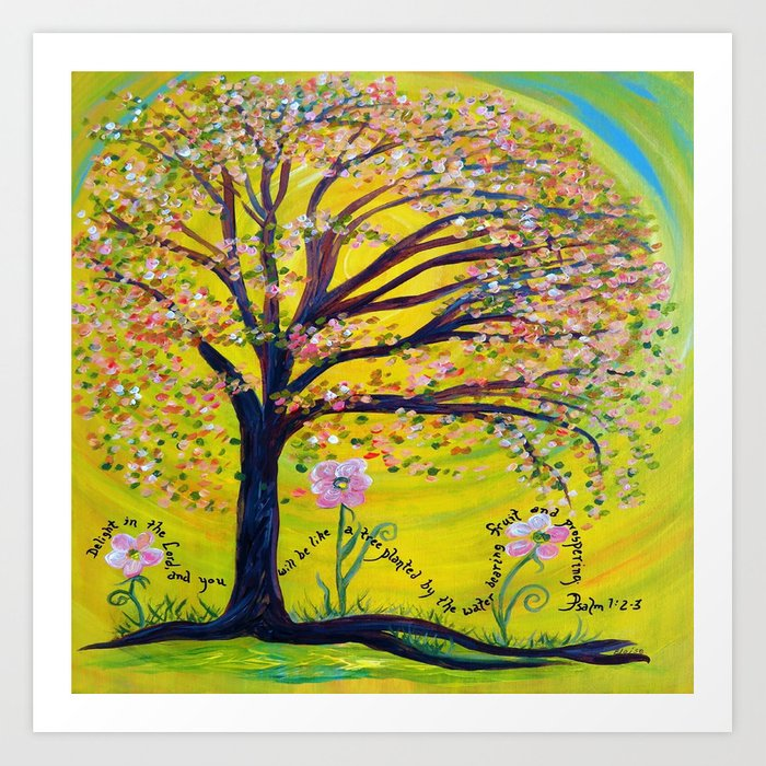 A Tree Planted by the Water Art Print