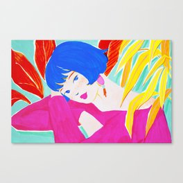 Short Hair Girl and Plants Canvas Print