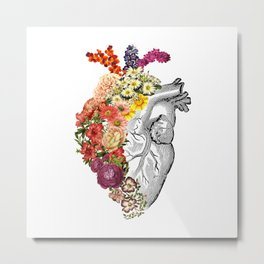 Flower Heart Spring White Metal Print
