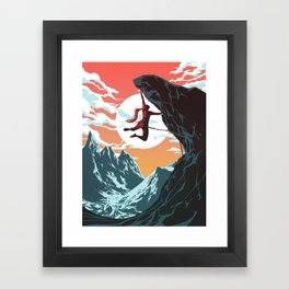 Rock Climbing Girl Vector Art Framed Art Print