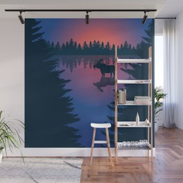 Moose in a Lake, Summer Forest Wall Mural