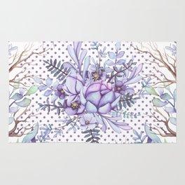 Modern lilac violet lavender polka dots watercolor floral Rug