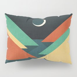 Quiet stream under crescent moon Pillow Sham