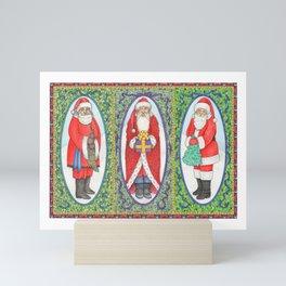 Three Santas Mini Art Print