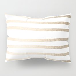 Simply Drawn Stripes in White Gold Sands Pillow Sham