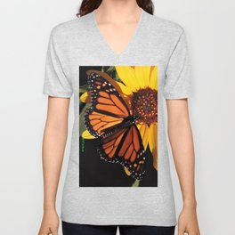 Monarch on a Desert Sunflower Unisex V-Neck