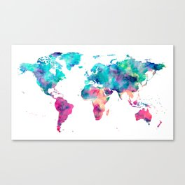 World Map Turquoise Pink Blue Green Canvas Print