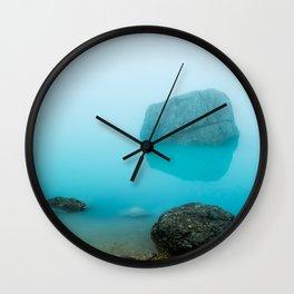 Mysterious aqua mountain lake, Italy Wall Clock