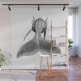Horned Whale B/W Wall Mural
