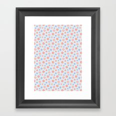 Blue Pink Flower Pattern Framed Art Print