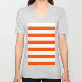 Horizontal Stripes - White and Dark Orange Unisex V-Neck