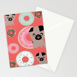 Pug and donuts orange Stationery Cards