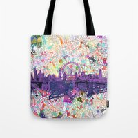 london Tote Bags featuring London by Bekim ART