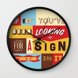 Typography Sign No.1 Wall Clock