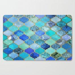Cobalt Blue, Aqua & Gold Decorative Moroccan Tile Pattern Cutting Board