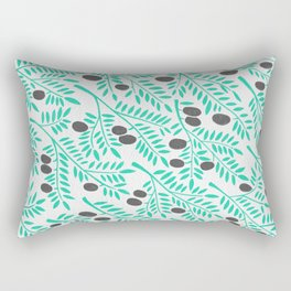 Olive Branches – Turquoise & Black Palette Rectangular Pillow