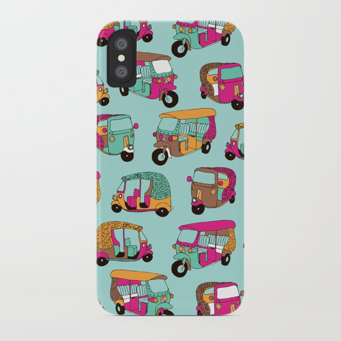 India rickshaw illustration pattern iPhone Case