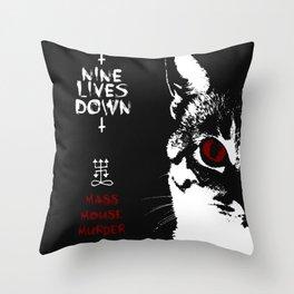 CAT METAL : Nine Lives Down - Mass Mouse Murder Throw Pillow
