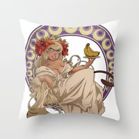 mucha Throw Pillows featuring Mucha Homage by Muy-Mal