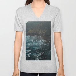 Oregon coast, Pacific Ocean, Pacific Coast, Ocean waves, Water, Blue Waves, Nature, Hipster, Moody Unisex V-Neck