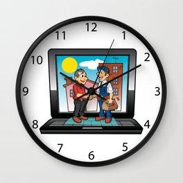 contractor handshake on laptop Wall Clock