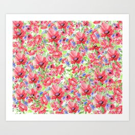 Blanket of Poppies Floral Print Art Print
