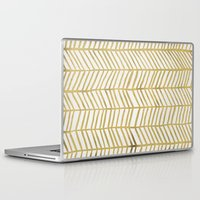 grid Laptop & iPad Skins featuring Gold Herringbone by Cat Coquillette