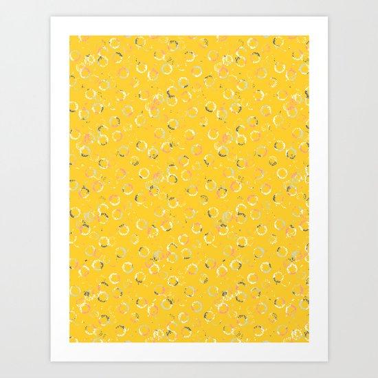 Polka Dots Stamps on Vivid Yellow Art Print