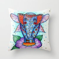 baby elephant Throw Pillows featuring Baby elephant  by oxana zaika