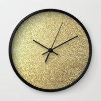gold glitter Wall Clocks featuring gold glitter by lamottedesign