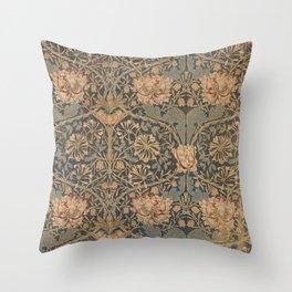 Honeysuckle by William Morris 1876 Antique Vintage Pattern, CC0 Spring Summer Throw Pillow