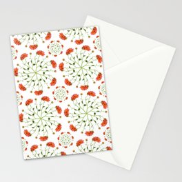 Coral Mum Floral Pattern - Realistic Flowers - Chrysanthemum Bloom Patterns Stationery Cards