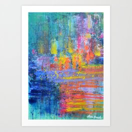Travel into the sunset - abstract expressionism prophetic art Art Print
