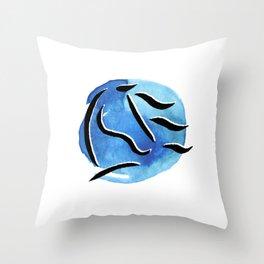 Spirit Horse {Blue Watercolor} Throw Pillow