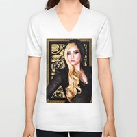 versace V-neck T-shirts featuring Mother Monster - Versace by Denda Reloaded
